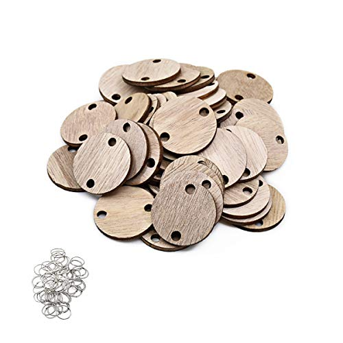 ElekFX Family Calendar Parts 50 Pack Calendar Wooden Discs & Ring for Birthday Gift/Christmas Tree Decorative/Home Decor -