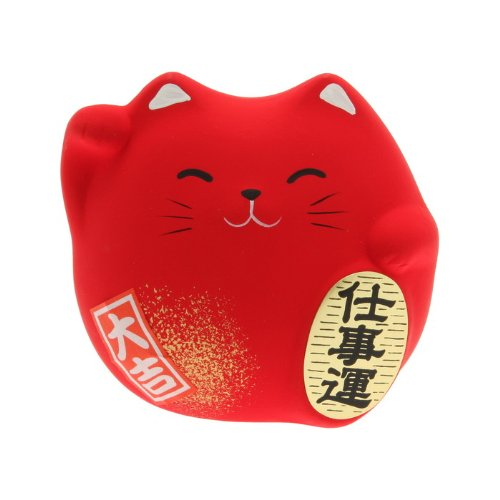 Kotobuki Maneki Neko Charm Shigoto-un Collectible Figurine, Successful Career, Red