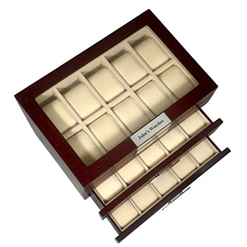 TimelyBuys 30 Cherry Wood Personalized Watch Box Display Case 3 Level Storage Jewelry Organizer with Glass Top, Stainless Steel Accents, and 2 Drawers (Watch Personalizes Box)