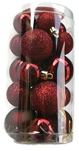 re Christmas Tree Shatterproof Ornaments - Burgundy - 20 Count ()