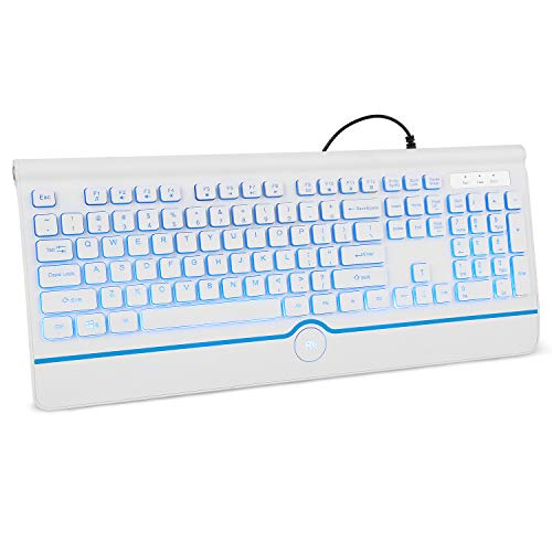 Hp Usb Standard Keyboard - Rii RK103 Backlit USB Keyboard,Full-Size Computer Keyboard USB Keyboard with Blue LED Backlit for Windows 7/8/10/Vista, Mac,Linux,PC,Laptop and Desktop-Wired