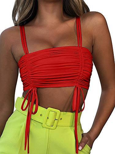 TOB Women's Sexy Sleevleess Double Linked Spaghetti Strap Lace Up Club Tube Crop Top Red ()