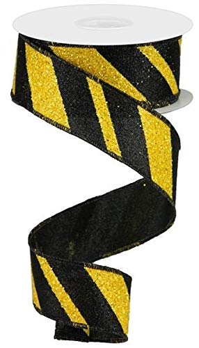 - Wired Ribbon Glittered Black and Yellow Giant Diagonal Lines 1.5