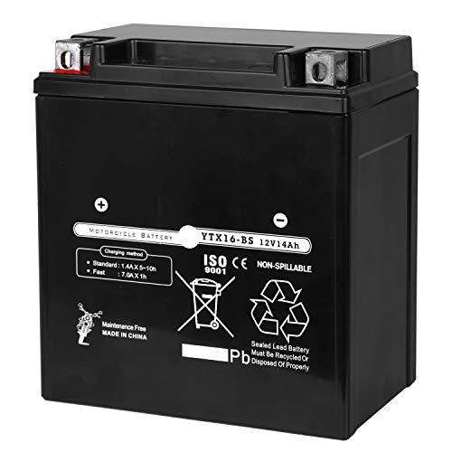 Weize YTX16-BS High Performance - Maintenance Free - Sealed AGM Motorcycle Battery For Honda TRX 500 420 450 350 Rubicon Foreman ()