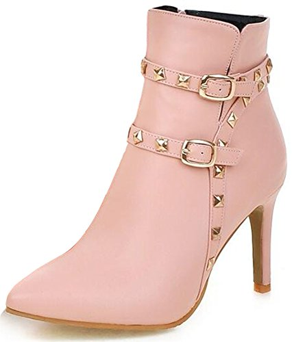 Summerwhisper Womens Sexy Rivets Studded Strappy Buckle Club Booties Pointed Toe Stiletto High Heel Size Zipper Ankle Boots