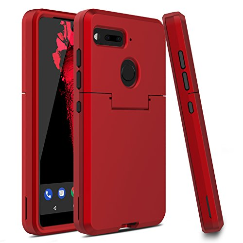 Essential Phone PH-1 Case, Venoro Three Layer Hybrid Rugged Protective Case Armor Anti-Scratch Shockproof Cover Ultra Fit for Essential Phone/Essential PH-1 Only (Red/Black)