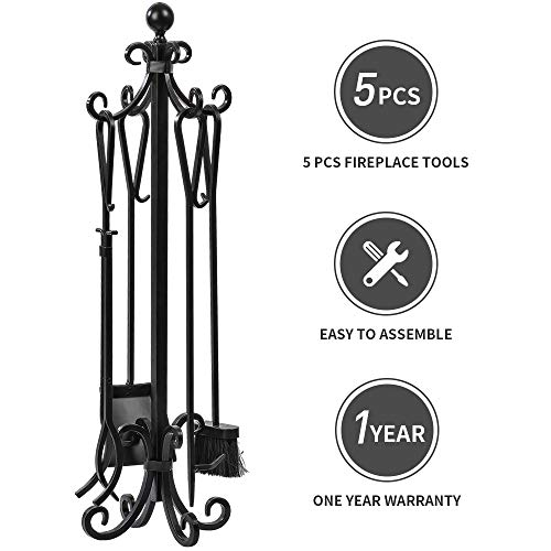 Hearth Set Tool - 5 Pieces Scroll Fireplace Tools Set Black Cast Iron Fire Place Toolset with Log Holder Fireset Fire Pit Stand Rustic Tongs Shovel Antique Broom Chimney Poker Wood Stove Hearth Accessories Set