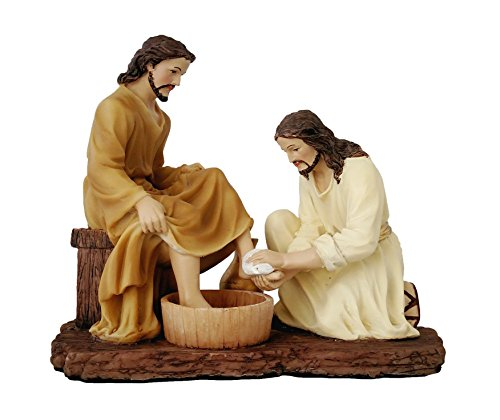 8 Inch Jesus Washing Disciples Feet Christ Statue Figurine Religious Decor (Jesus Washing Disciples Feet)