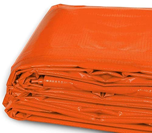 20-Foot by 30-Foot Multi-Purpose 100% Waterproof Orange Heavy Duty PVC Vinyl Tarp Cover 12 Mil Thickness for Inflatables, Tents, and Weather Protection