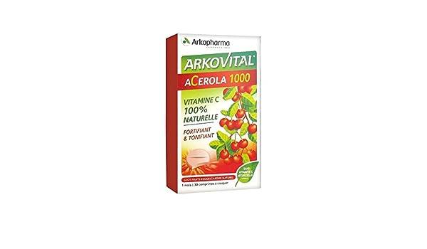 Acerola 1000 Goût Fruits Rouges 30 comprimés à croquer Arkopaharma: Amazon.es: Salud y cuidado personal