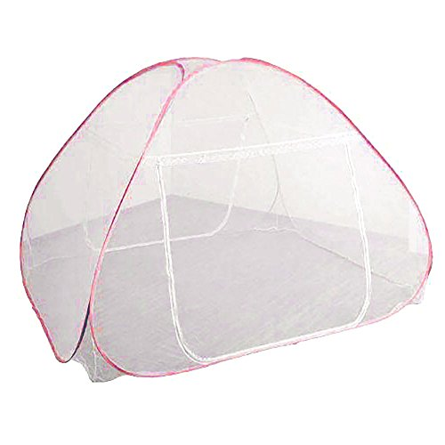 Mos X ワンタッチ蚊帳 折りたたみ式 シングルドア 底つき セミダブル ダブル キング (レッド)