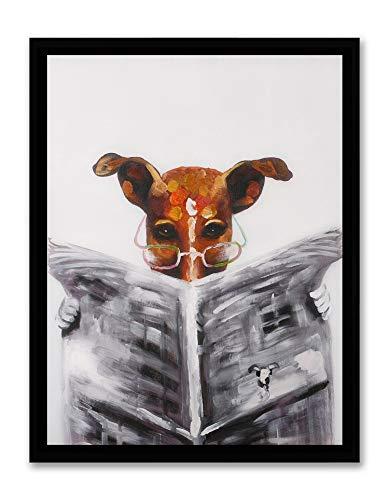 (Art Hub Modern Pop Art Decor (Framed) Jack Russell Terrier Reading Newspaper Print Canvas Home Decor Wall Art, Black Plastic Frame, 14x18)