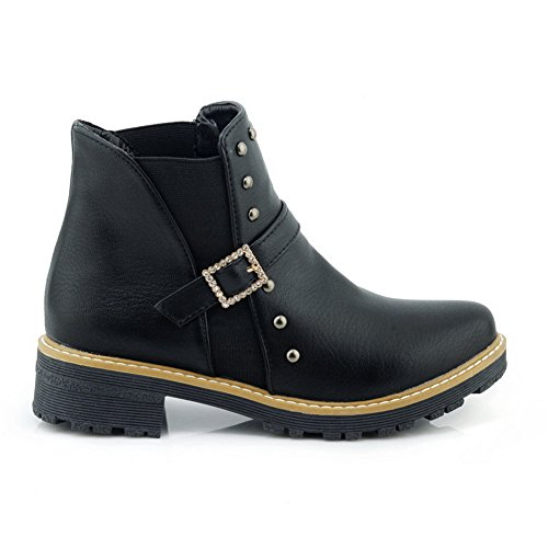 Black 1TO9 Leather MNS02474 Bootie Womens Lining Smooth Studded Boots Top Toe Boots Cold Low Urethane Closed Smooth Leather TfTRq