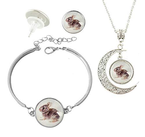 Baoquan Baby Cottontail Bunny Rabbit Custom Fashion Charm Silver Plated Hollow Crescent Pendant Necklace Stud Earring Bracelet Jewelry Set