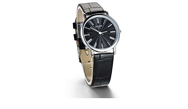 Amazon.com: JewelryWe Unique Design Multi-colored Romam Numerals Black Leather Strap Womens Watch: Watches