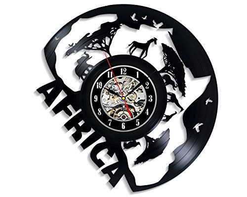 Levescale - Giraffe-Africa Vinyl Wall Clock - Vintage Style for Girl, Boy, Children - Decoration for Living Room - Giraffe - Animals - Mammal - South Africa -Safari -Wildlife (Types Of Wild Animals In South Africa)