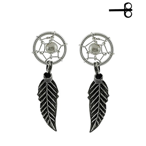 White Pearl with Dream Catcher 925 Sterling Silver Push Back Ear Stud Earring (Bullet Cartilage Earring compare prices)