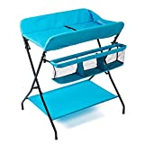 Cot with Changing Table Baby Changing Table Portable Fold Dresser, Blue Nursing Baby Cot Diaper Station Nursery Organizer for Infant