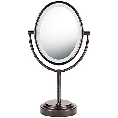 Conair Oval Double-Sided Lighted Mirror - Oiled-Bronze Finish