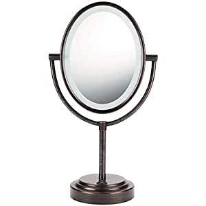 Conair Oval Shaped Double-Sided Lighted Makeup Mirror; 1x/7x magnification; Oiled Bronze Finish
