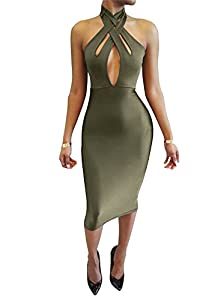 23. TOB Halter Bodycon off Shoulder Club Dress