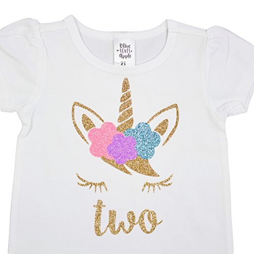 Girls 2nd Birthday Shirt Unicorn Face Two Shirt Short Sleeve Puff Sleeves with Glitter Gold by Olive Loves Apple
