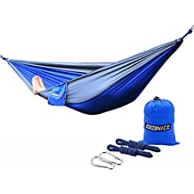 WoneNice Camping Hammock - Portable Lightweight Double Nylon Hammock, Best Parachute Hammock with 2 x Hanging Straps for Backpacking, Camping, Travel, Beach, Yard and Garden (Blue/Gray)