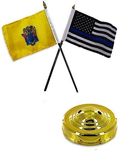(ALBATROS New Jersey State with USA Police Blue 4 inch x 6 inch Flag Desk Set Table Stick with Gold Base for Home and Parades, Official Party, All Weather Indoors)