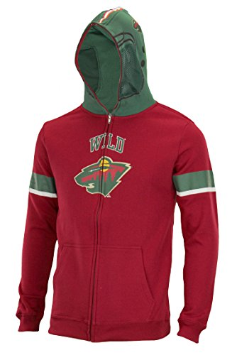 (Outerstuff NHL Big Boys Youth (8-18) Full Zip Helmet Masked Hoodie, Minnesota Wild, Medium)