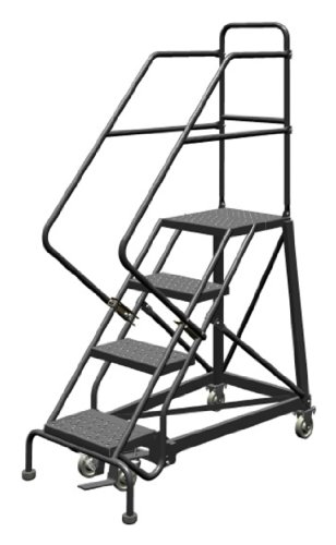 Tri-Arc KDEC104166 4-Step Forward Descent Safety Angle Steel Rolling Industrial and Warehouse Ladder with Perforated Tread, 16-Inch Wide Steps