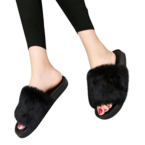 Estimado Tiempo Mujeres Zapatillas De Piel Sintética Punta Abierta Deslizamiento Suave Deslizamiento En Sandalias Zapatos Planos Negro