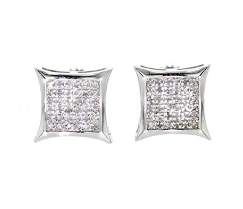 - Earrings for Men Diamonds 0.15ctw Kite Shaped Stud Earrings With Screw Back White gold-Tone Silver 9.5mm