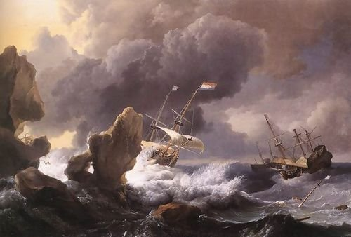 Ludolf Backhuysen Ships In Distress Off A Rocky Coast 1667 107x72 [Kitchen]