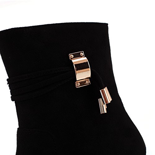 B M with Imitated Wedge Womens Toe US 5 6 PU Closed Suede Frosted Boots Round Solid Low AmoonyFashion Heels Black FUTqnxx