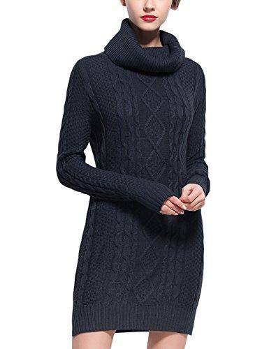 Rocorose Women's Cowl Neck Slit Side Long Pullover Sweater Dark Blue M