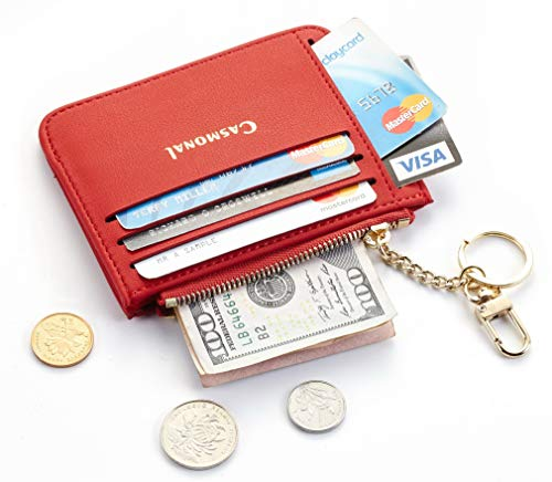 Casmonal Genuine Womens Leather Card Case Holder Minimalist Slim Front Pocket Wallet Coin Change Purse (Red Classic)