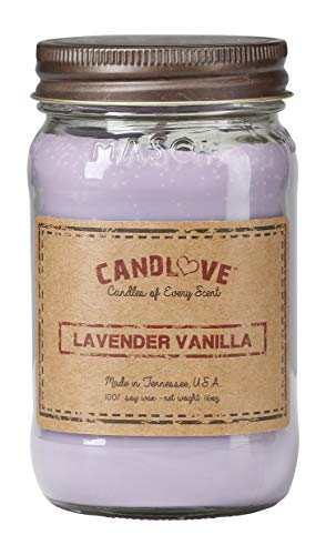 CANDLOVE Lavender Vanilla Scented 16oz Mason Jar Candle 100% Soy Made in The USA