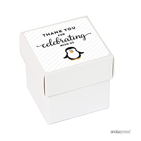 Andaz Press Birthday Mini Square Party Favor Box DIY Kit, Thank You for Celebrating With Us, Arctic Penguin, 20-Pack, For Decor Decorations Dessert Table - Penguin Squares