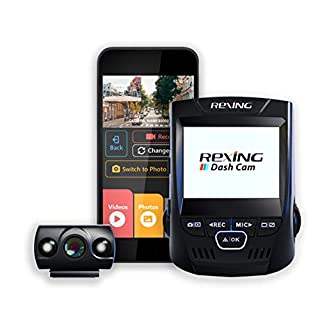 """Rexing V1P 2.4"""" LCD FHD 1080p 170 Degree Wide Angle Dual Channel Wi-Fi Dashboard Camera Recorder Car Dash Cam with Rear Camera, Supercapacitor, G-Sensor, WDR, Loop Recording, Mobile App"""