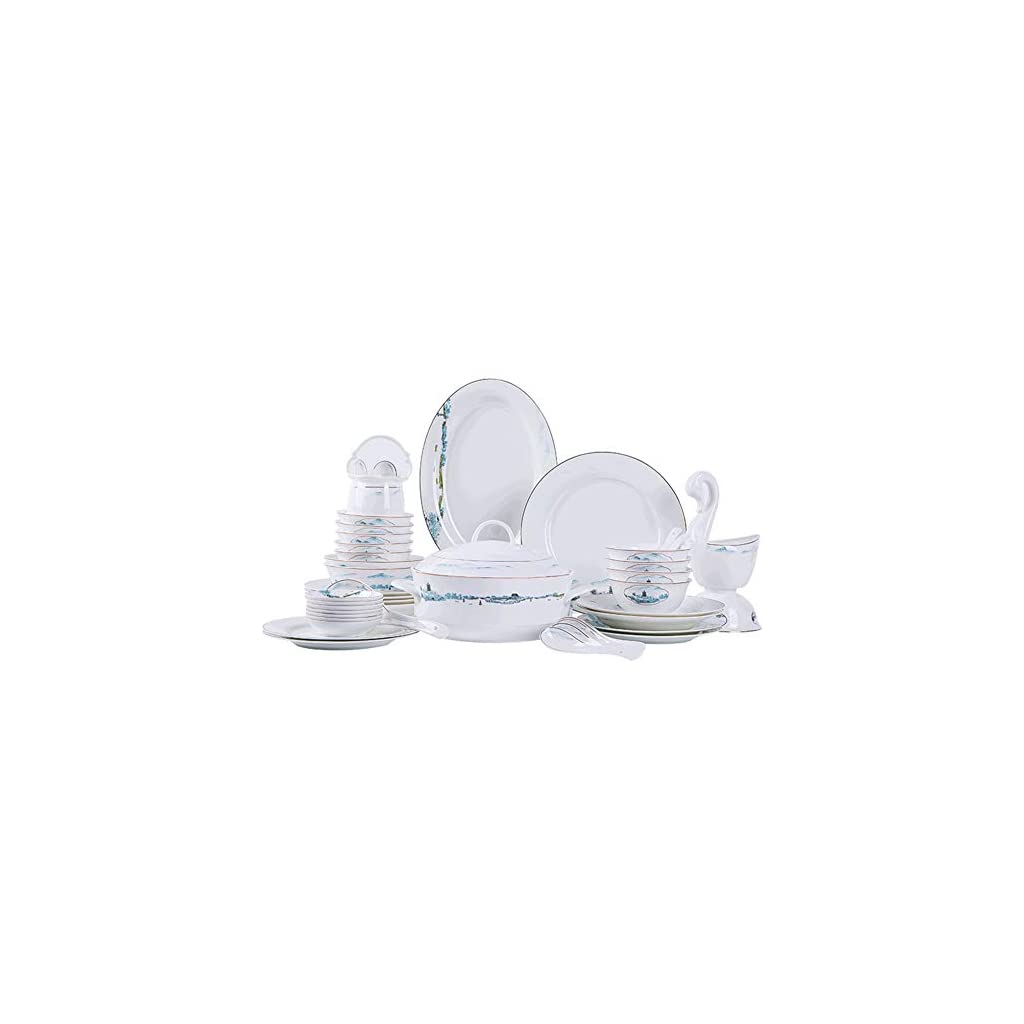 XLNB 58 Pieces Dinnerware Set, Beautifully Porcelain Tableware Set, Landscape Pattern Design of West Lake in Hangzhou…