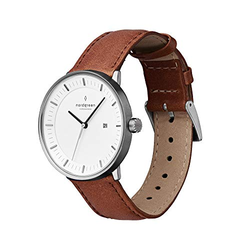(Nordgreen Unisex Philosopher Scandinavian Gun Metal Analog Watch 40mm (Large) with Brown Leather Strap 10007)