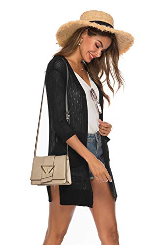 LYHNMW Womens Casual Long Sleeve Lightweight Open Front Long Knited Cardigan with Pocket(Black,XXL) ()