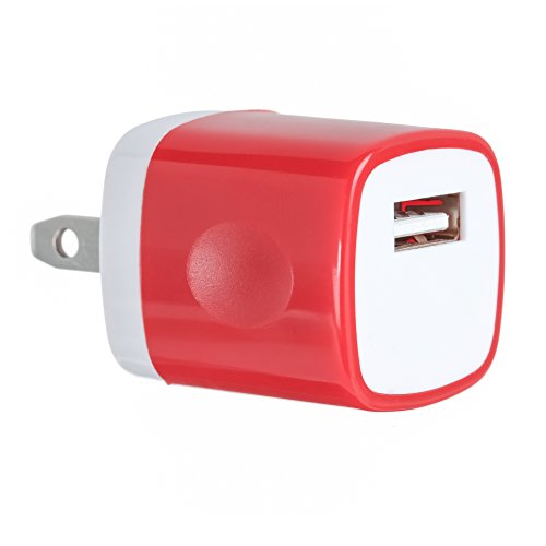 1PC Red Universal USB Port Colors USB AC/DC Power Adapter Home Wall Charger Plug W/ Easy Grip for iPhone 7/7 plus 6/6 plus Samsung Galaxy S5 S4 S8¡­ (Ac Plugs And Usb Ports compare prices)