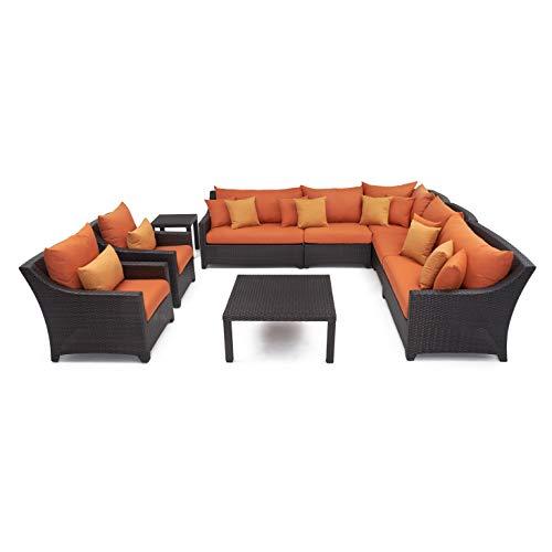 Cheap RST Brands OP-PESS9-TKA-K Tikka 9-Piece Corner Sectional Sofa and Club Chairs Set