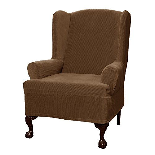 Maytex Collin Stretch 1 Piece Wing Chair Furniture Cover / Slipcover, Mocha