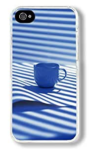 Blue And White Style Design Custom iPhone 4S Case Back Cover, Snap-on Shell Case Polycarbonate PC Plastic Hard Case Transparent