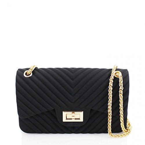 LeahWard Frauen Cross Body Bag Kette Faux Lederband Tassel Handtaschen CW623 (GRÜN SCHULTERTASCHE) SCHWARZ p5j1jf