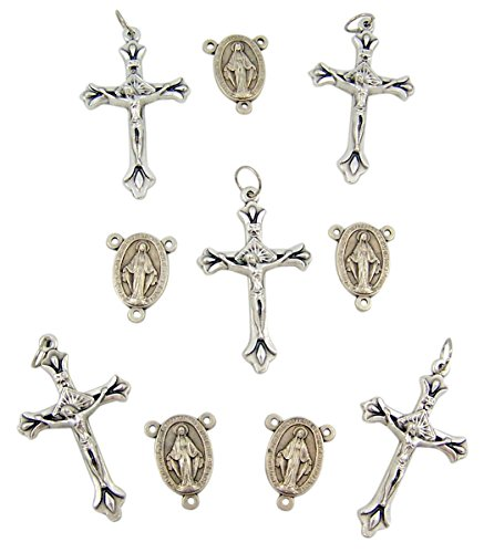 Silver Tone Miraculous Medal Rosary Centerpiece with Crucifix Pendants, Lot of 10 (Miraculous Medal Centerpiece)