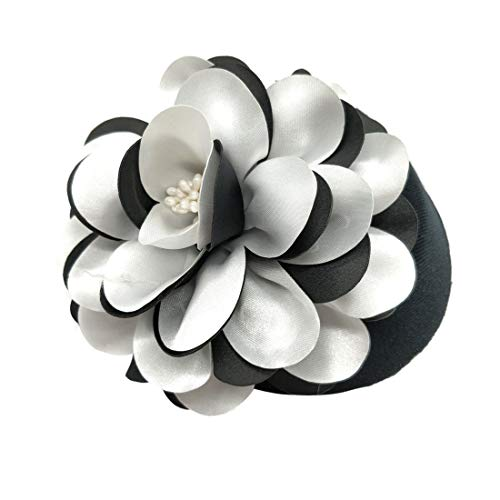 Ahugehome Fascinator Hair Clip Headband Pillbox Hat Flower Wedding Cocktail Tea Party (C Black White Flower B) by Ahugehome