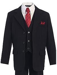 Bello Giovane Boys Pinstripe 5-piece Suit